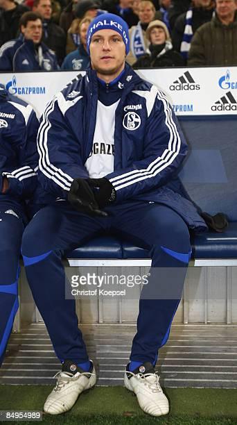 Ivan Rakitic of Schalke sits on the bench before the Bundesliga match between FC Schalke 04 and Borussia Dortmund at the VeltinsArena on February 20...
