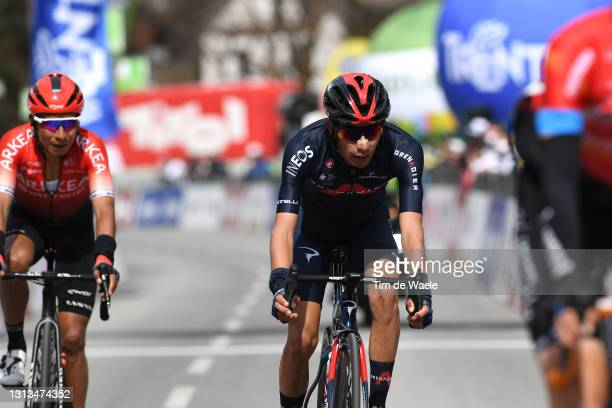 Ivan Ramiro Sosa Cuervo of Colombia and Team INEOS Grenadiers on arrival during the 44th Tour of the Alps 2021, Stage 2 a 121,5km stage from...