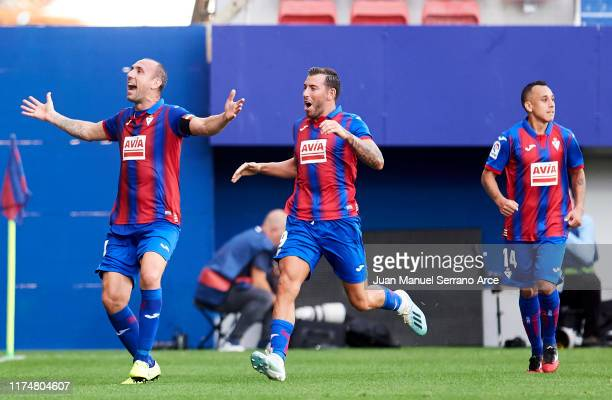 Ivan Ramis of SD Eibar celebrates after scoring goal during the Liga match between SD Eibar SAD and RCD Espanyol at Ipurua Municipal Stadium on...