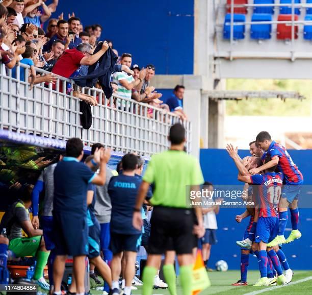 Ivan Ramis of SD Eibar celebrates after scoring goal during the Liga match between SD Eibar SAD and RCD Espanyol at Ipurua Municipal Stadium on...