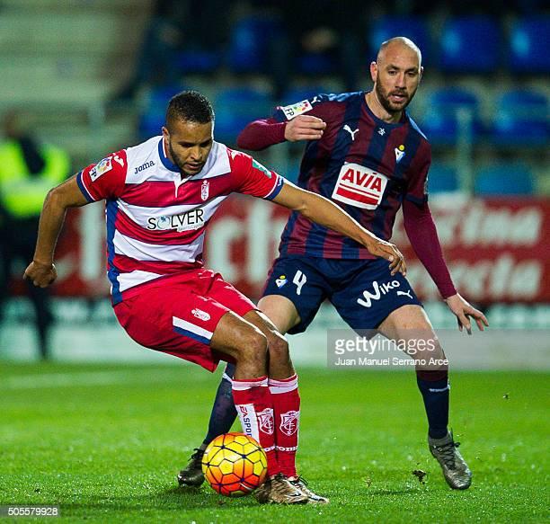Ivan Ramis of SD Eibar duels for the ball with Youssef El Arabi of Granada CF during the La Liga match between SD Eibar and Granada CF at Ipurua...