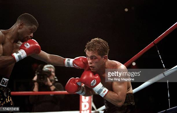 Ivan Robinson lands a punch against Arturo Gatti during the fight at the Trump Taj Mahal in Atlantic City, New Jersey. Ivan Robinson won by a UD 10.