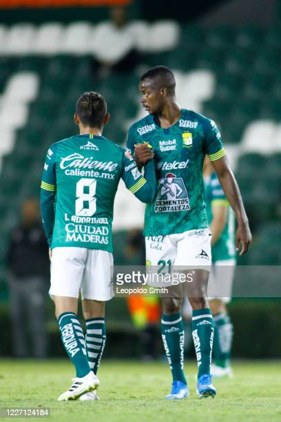 Ivan Rodriguez and Stiven Barreiro of Leon celebrate the second goal of his team scored by Nicolas Sosa during a match between Leon and FC Juarez as...