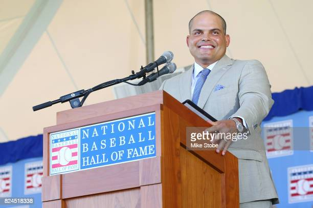 Ivan Rodriguez gives his induction speech at Clark Sports Center during the Baseball Hall of Fame induction ceremony on July 30 2017 in Cooperstown...