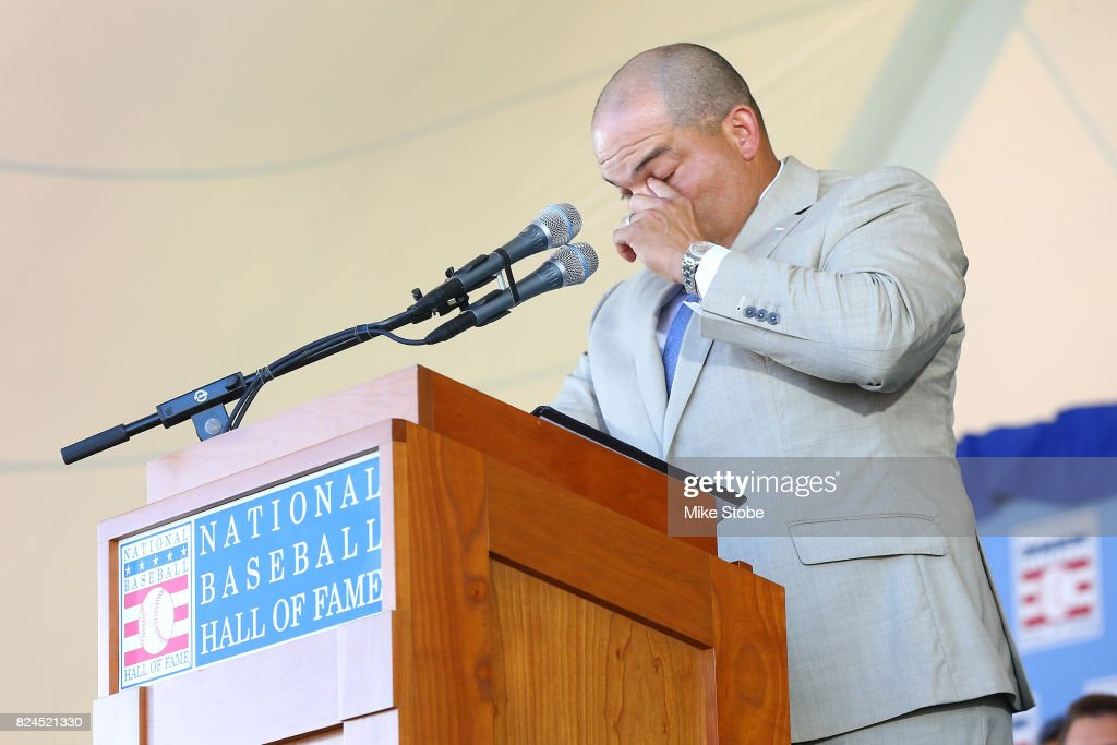 Ivan Rodriguez gives his induction speech at Clark Sports Center during the Baseball Hall of Fame induction ceremony on July 30, 2017 in Cooperstown, New York.