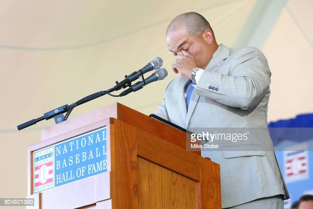 Ivan Rodriguez gives his induction speech at Clark Sports Center during the Baseball Hall of Fame induction ceremony on July 30, 2017 in Cooperstown,...