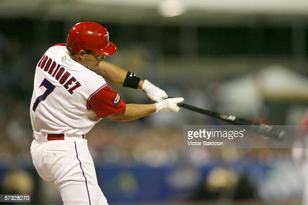 Ivan Rodriguez of Puerto Rico bats during the game against Cuba on March 15 2006 at Hiram Bithorn Stadium in San Juan Puerto Rico Cuba defeated...