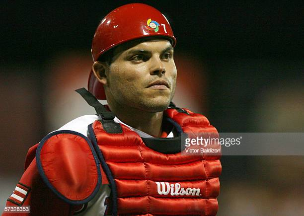 Ivan Rodriguez of Puerto Rico fields during the game against Cuba on March 15 2006 at Hiram Bithorn Stadium in San Juan Puerto Rico Cuba defeated...