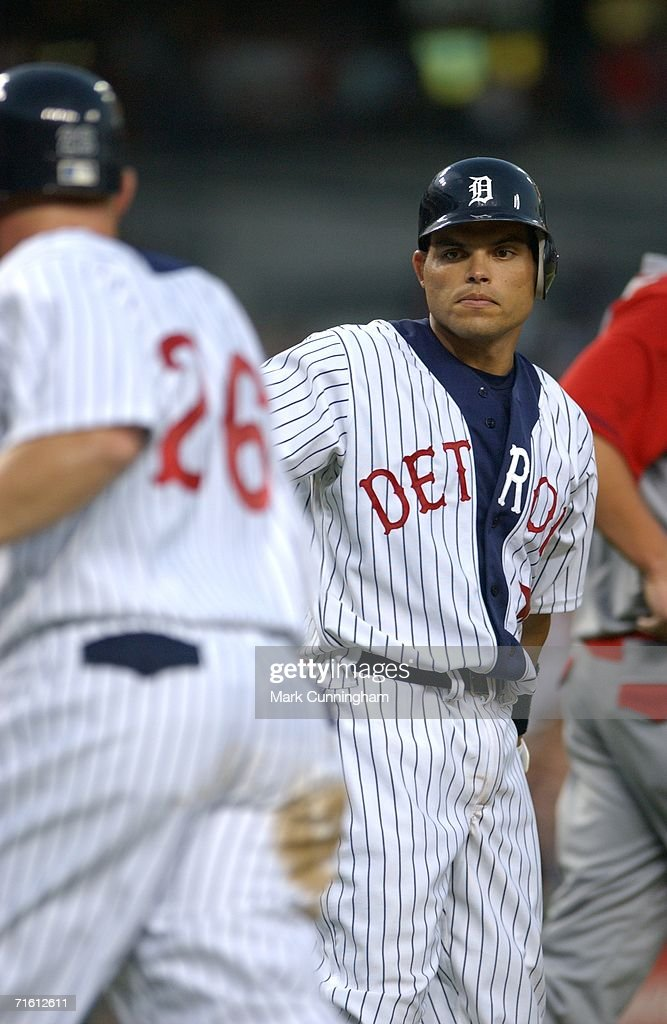 Ivan Rodriguez of the Detroit Tigers watches a teammate during the game against the Kansas City Royals at Comerica Park in Detroit, Michigan on July 15, 2006. The Tigers defeated the Royals, 6-0.