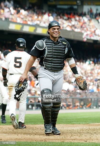 Ivan Rodriguez of the Florida Marlins smiles after the Marlins won Game 2 of the NLDS against the San Francisco Giants at Pac Bell Park in San...
