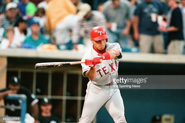 Ivan Rodriguez of the Texas Rangers bats against the Chicago White Sox at Comiskey Park in Chicago Illinois on July 25 1996 The Rangers defeated the...