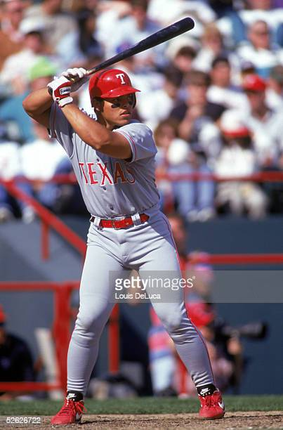Ivan Rodriguez of the Texas Rangers bats during a season game Ivan Rodriguez played for the Texas Rangers from 19912002