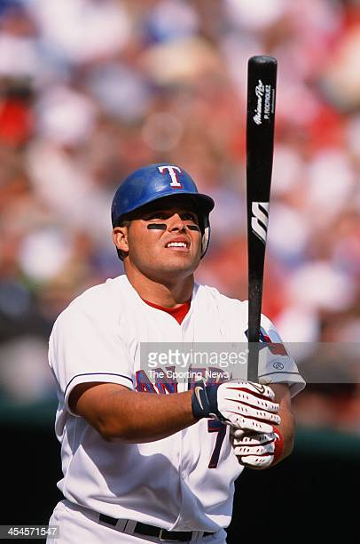 Ivan Rodriguez of the Texas Rangers during the game against the Anaheim Angels at Rangers Ballpark in Arlington on April 5 2002 in Arlington Texas