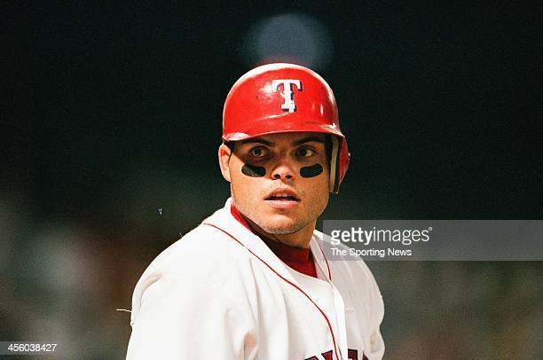 Ivan Rodriguez of the Texas Rangers during the game against the Toronto Blue Jays at The Ballpark in Arlington on August 8 1999 in Arlington Texas