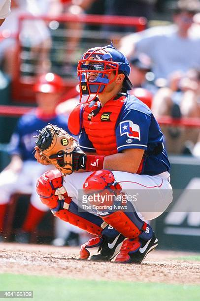 Ivan Rodriguez of the Texas Rangers during the game against the Oakland Athletics on May 7 2000 at The Ballpark in Arlington in Arlington Texas