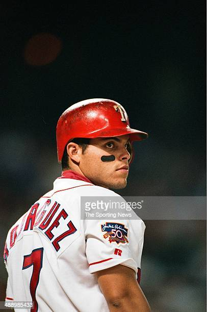 Ivan Rodriguez of the Texas Rangers looks on against the Cleveland Indians at Rangers Ballpark in Arlington on August 3 1997 in Arlington Texas The...
