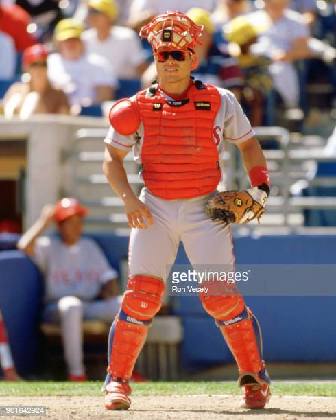 Ivan Rodriguez of the Texas Rangers looks on while catching during an MLB game versus the Chicago White Sox at Comiskey Park in Chicago Illinois...