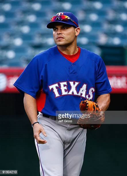 Ivan Rodriguez of the Texas Rangers takes batting practice prior to the game against the Los Angeles Angels of Anaheim at Angel Stadium on September...