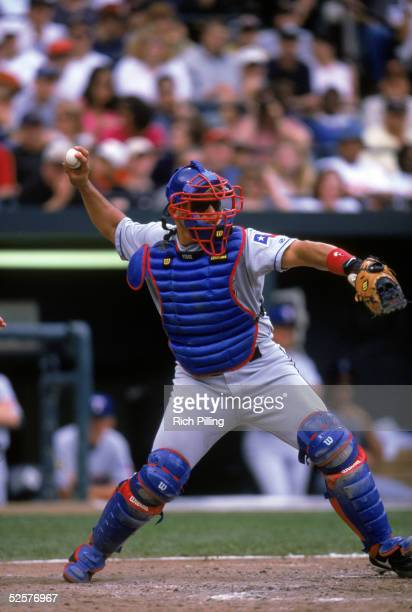 Ivan Rodriguez of the Texas Rangers throws to second base during the game on May 27, 2001. Ivan Rodriguez played for the Texas Rangers from 1991-2002.