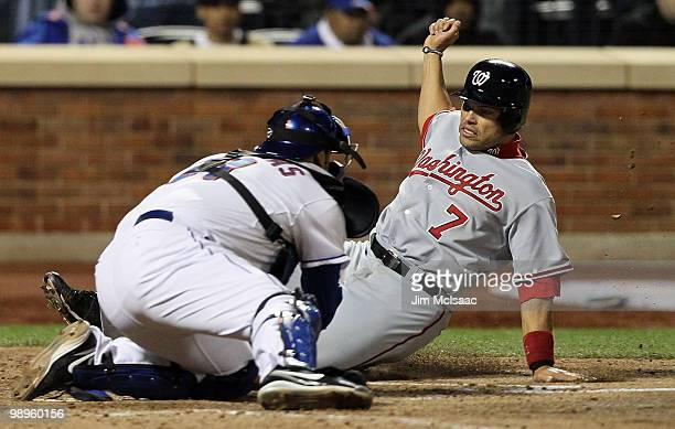 Ivan Rodriguez of the Washington Nationals is tagged out at the plate by Rod Barajas of the New York Mets to end the sixth inning on May 10 2010 at...