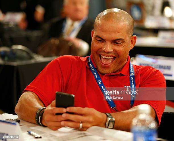 Ivan Rodriguez representing the Texas Rangers during the MLB FirstYear Player Draft at the MLB Network Studio on June 5 2014 in Secacucus New Jersey