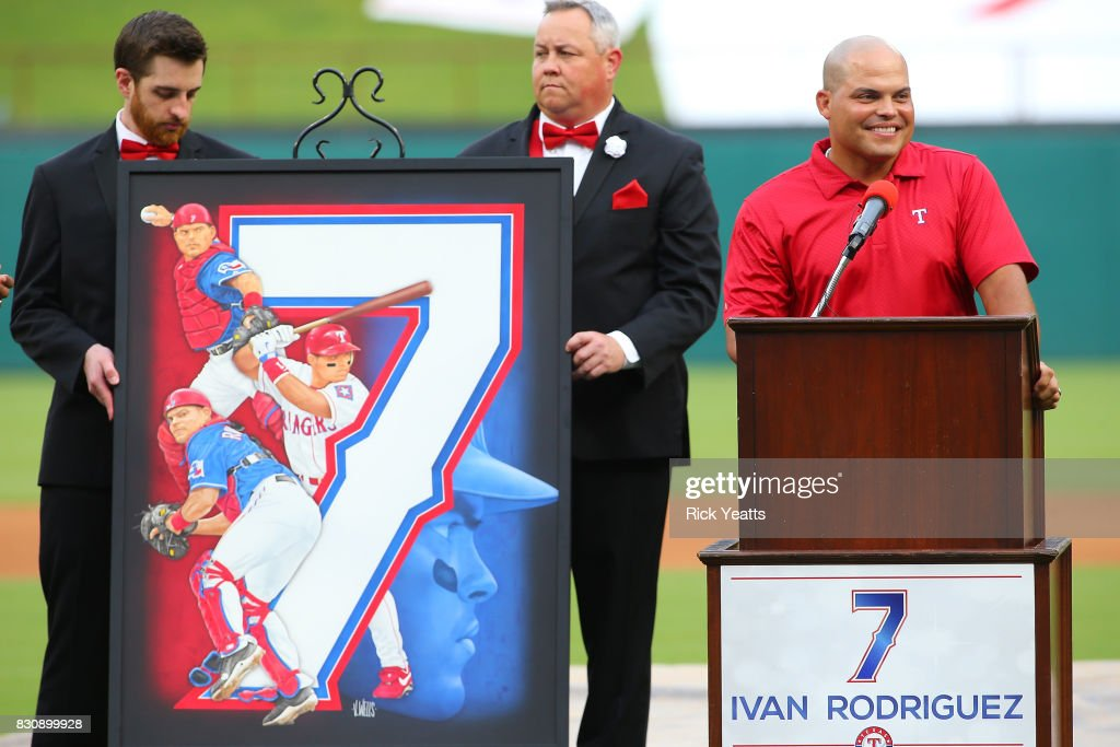 Ivan (Pudge) Rodriguez speaking had his #7 jersey third Ranger to have his jersey retired in the history of the Texas Rangers before the game against the Houston Astros at Globe Life Park in Arlington on August 12, 2017 in Arlington, Texas.