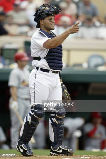 Ivan Rodriquez of the Detroit Tigers looks on during the game against the St Louis Cardinals at Marchant Stadium on March 16 2004 in Lakeland Florida
