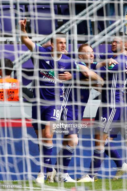 Ivan Santini forward of Anderlecht scores and celebrates pictured during the Jupiler Pro League match between RSC Anderlecht and Standard de Liege at...