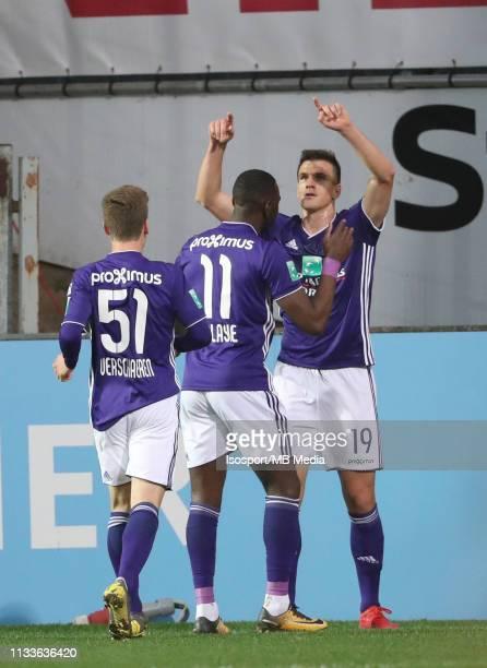 Ivan Santini of Anderlecht celebrates after scoring a goal during the Jupiler Pro League match between KSC Lokeren OV and RSC Anderlecht at...