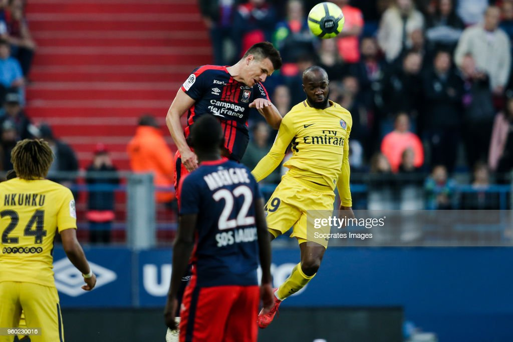 Ivan Santini of Caen, Lassana Diarra of Paris Saint Germain during the French League 1 match between Caen v Paris Saint Germain at the Stade Michel d Ornano on May 19, 2018 in Caen France