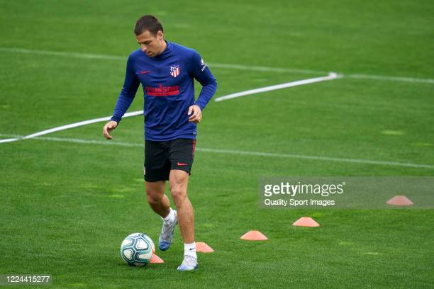 Ivan Saponjic of Atletico de Madrid in action during a training session at Estadio Cerro del Espino on May 12 2020 in Madrid Spain