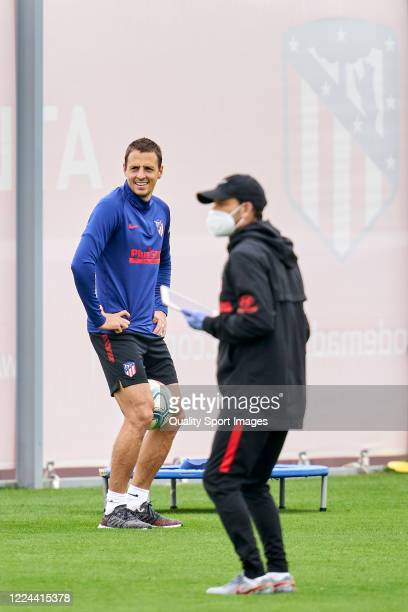 Ivan Saponjic of Atletico de Madrid laughing during a training session at Estadio Cerro del Espino on May 12 2020 in Madrid Spain
