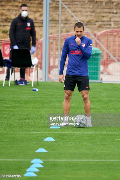 Ivan Saponjic of Atletico de Madrid looks on during a training session at Estadio Cerro del Espino on May 12 2020 in Madrid Spain