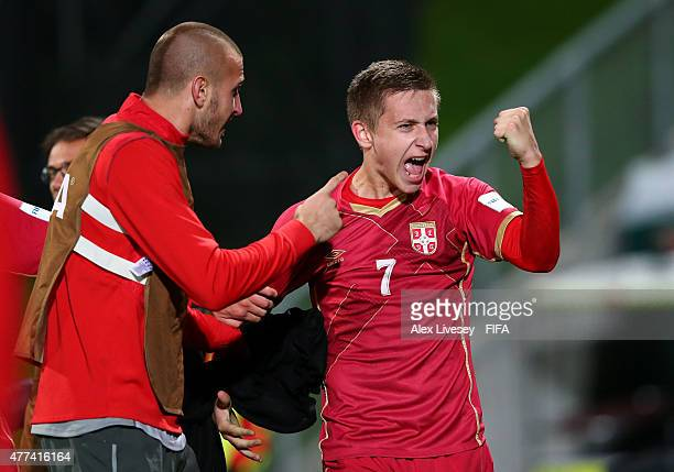 Ivan Saponjic of Serbia celebrates after scoring their second goal during the FIFA U20 World Cup Semi Final match between Serbia and Mali at North...