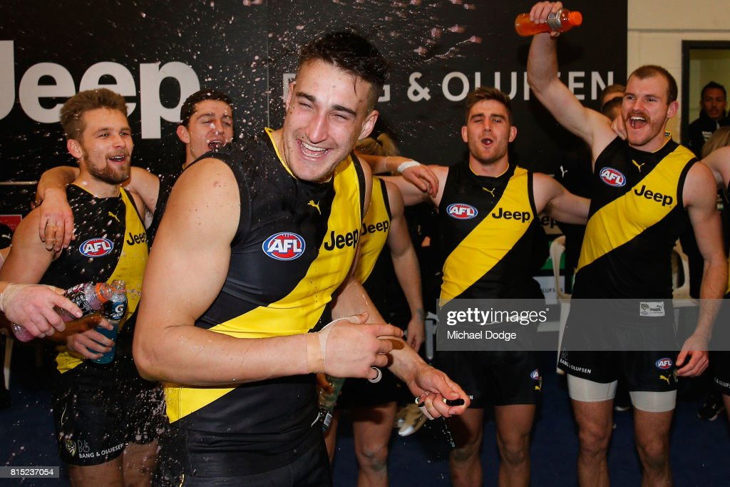 Ivan Soldo of the Tigers celebrates his first win during the round 17 AFL match between the Richmond Tigers and the Brisbane Lions at Etihad Stadium on July 16, 2017 in Melbourne, Australia.