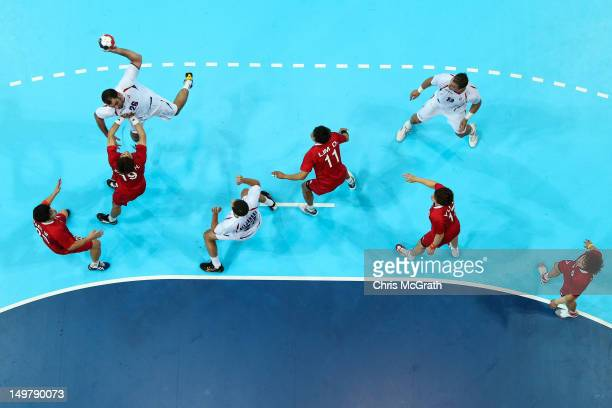 Ivan Stankovic of Serbia shoots at goal during the Men's Handball Preliminaries Group B match between Korea and Serbia on Day 8 of the London 2012...
