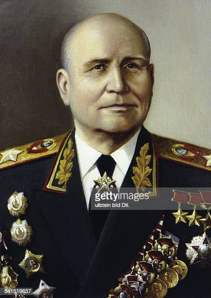 Ivan Stepanovich Konev *28121897 military leader Marshal of the Soviet Union general USSR portrait after a painting by NW Rshevsky