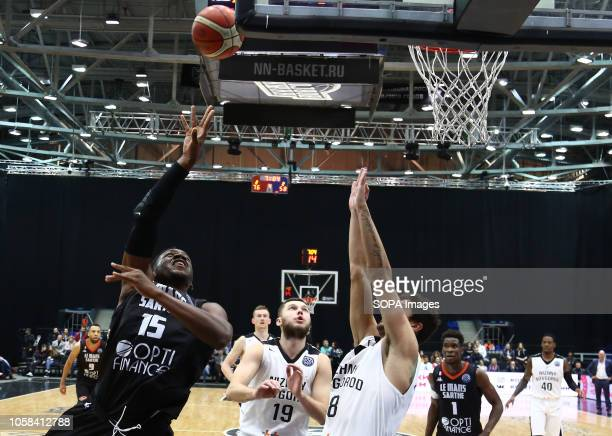 Ivan Strebkov Anton Astapkovich and Wilfried Yeguete Louis Rucklin seen in action during the game Basketball Champions League BC Nizhny Novgorod from...