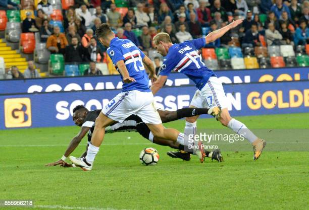 Ivan Strimic of UC Sampdoria maching penalty foul to Seko Mohamed Fofana of Udinese Calcioduring the Serie A match between Udinese Calcio and UC...