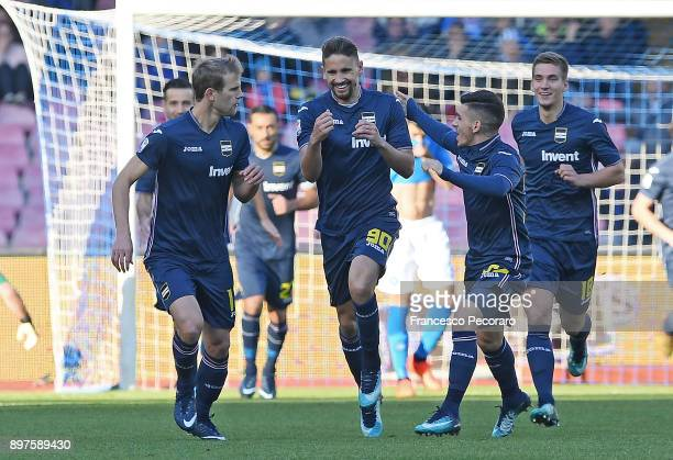 Ivan Strinic Gaston Ramirez Lucas Torreira and Dennis Praet of UC Sampdoria celebrate the 01 goal scored by Gaston Ramirez during the Serie A match...