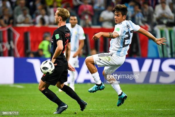 Ivan Strinic of Croatia and Paulo Dybala of Argentina during the FIFA World Cup Group D match between Argentina and Croatia at Nizhny Novogorod...