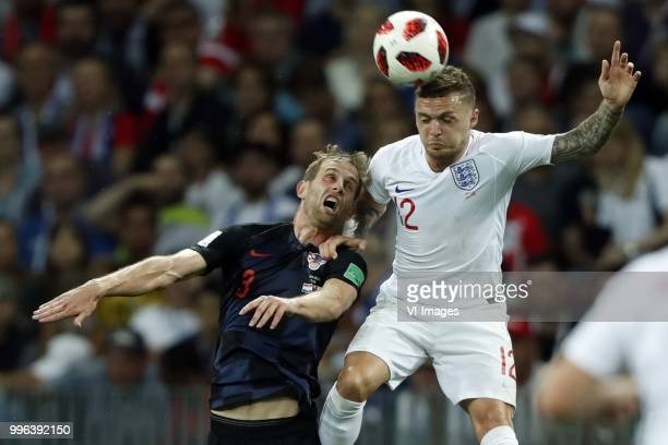Ivan Strinic of Croatia Kieran Trippier of England during the 2018 FIFA World Cup Russia Semi Final match between Croatia and England at the Luzhniki...