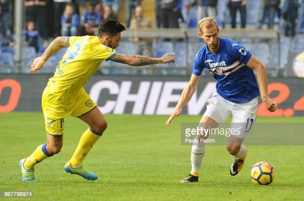 Ivan Strinic of Sampdoria and Lucas Castro of Chievo Verona during the Serie A match between UC Sampdoria and AC Chievo Verona at Stadio Luigi...