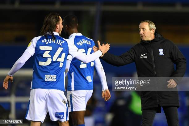 Ivan Sunjic of Birmingham City and Lee Bowyer, Manager of Birmingham City shake hands following the Sky Bet Championship match between Birmingham...