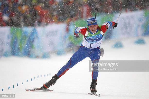 Ivan Tcherezov of Russia competes in the men's biathlon 10 km sprint final during the Biathlon Men's 10 km Sprint on day 3 of the 2010 Winter...