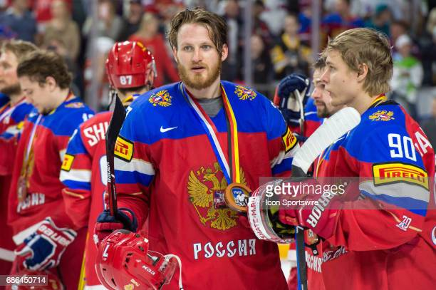 Ivan Telegin and Vladislav Namestnikov with bronze medals after the Ice Hockey World Championship Bronze medal game between Russia and Finland at...