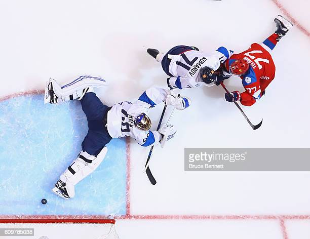 Ivan Telegin of Team Russia scores a second period goal against Tuukka Rask of Team Finland during the World Cup of Hockey tournament at the Air...