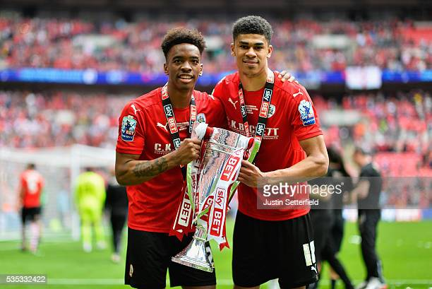 Ivan Toney of Barnsley FC and Ashley Fletcher of Barnsley FC celebrate after wiining the Sky Bet League One Play Off Final between against Millwall...