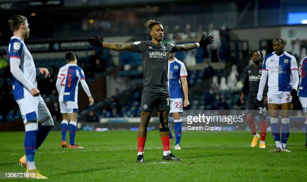 Ivan Toney of Brentford celebrates after he scores from the penalty spot during the Sky Bet Championship match between Blackburn Rovers and Brentford...