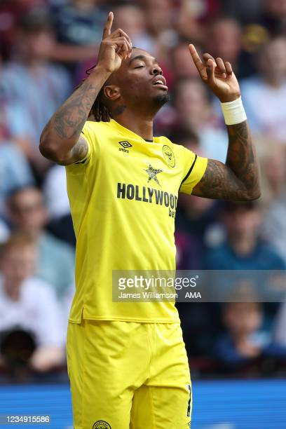 Ivan Toney of Brentford celebrates after scoring a goal to make it 0-1 during the Premier League match between Aston Villa and Brentford at Villa...